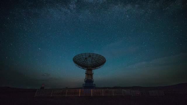 time lapse - radiosände teleskop under vintergatan - parabolantenn bildbanksvideor och videomaterial från bakom kulisserna