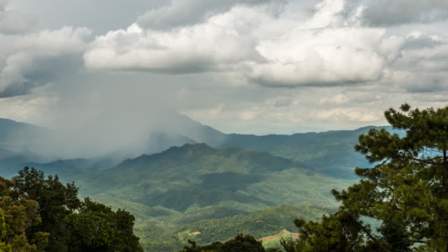 Time Lapse Rain fallling over the mountain in Tropicalrainforest before raining video