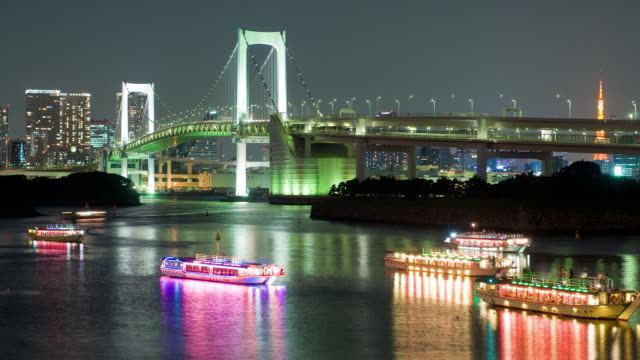 Time Lapse - Rainbow Bridge Tokyo w/ Tour Boats video