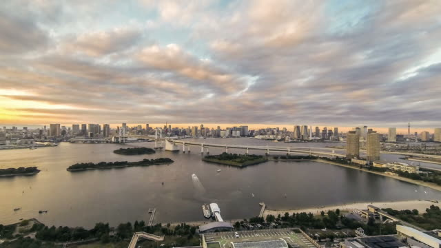 Time lapse rainbow bridge view at Tokyo Bay video