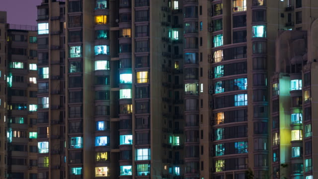 Time Lapse- Residential Area at Night, Beijing (Panning) video