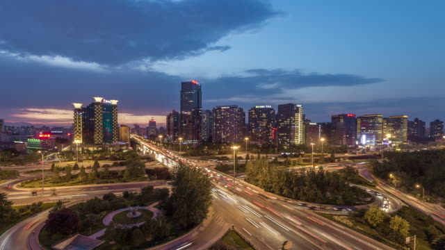 Time Lapse - Road Intersection, from Dusk to Night, Beijing, China video
