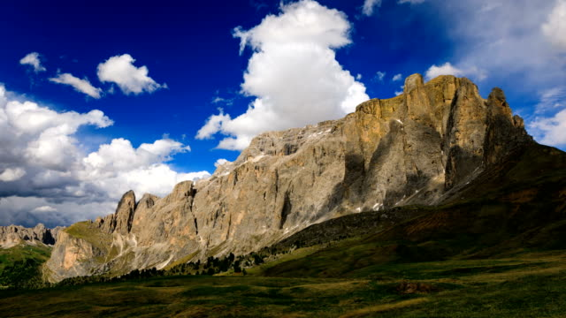 Time lapse rolling clouds over mountain mountain peak, Dolomites Alps, Italy video