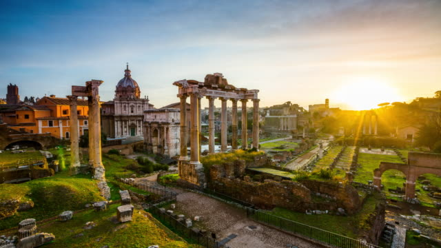 time lapse : roman forum at sunset, rome, italy - italian architecture stock videos & royalty-free footage