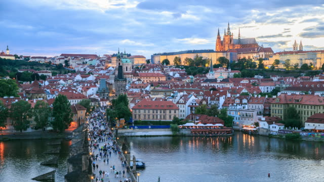 4k time lapse :romantic city of prague - gothic architecture stock videos & royalty-free footage