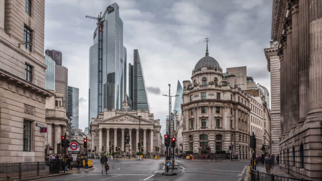 Time Lapse: Royal Exchange, Bank of England and new modern skyscrapers Time lapse shot of city of London financial district with Royal Exchange building, London, England, UK european culture stock videos & royalty-free footage