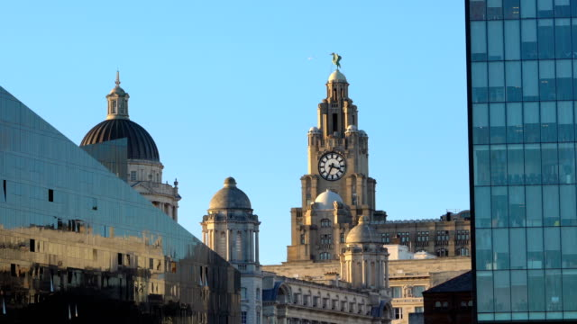 Time lapse Royal Liver Building, Pier Head from Albert Dock, Liverpool, England, UK