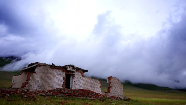 Time Lapse Ruined House and Storm Cloud video