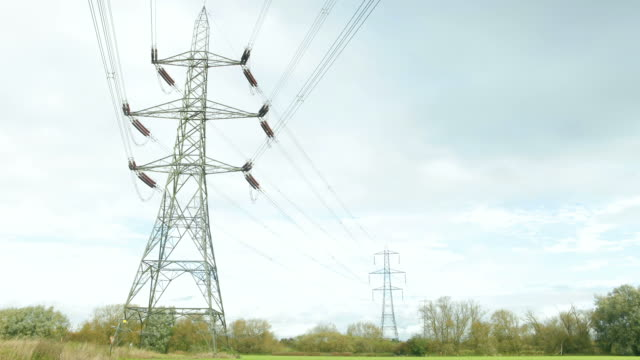 Time Lapse Sequence Of Electricity Pylons In Countryside video