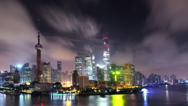 Time Lapse (Panning) - Shanghai Panoramic Skyline at Night video