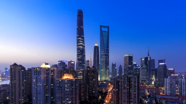 4k time lapse (day to night) - shanghai skyline and cityscape - international architecture stock videos & royalty-free footage
