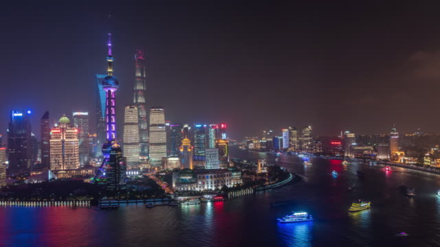 Time lapse Shanghai Skyline at Night Shanghai lujiazui financial district,china. shanghai stock videos & royalty-free footage