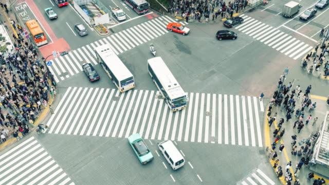 時光流逝涉谷人行橫道 - 澀谷交叉點 個影片檔及 b 捲影像