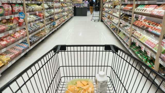 Time lapse Shopping cart in Supermarket Time lapse Shopping cart in Supermarket shopping cart stock videos & royalty-free footage