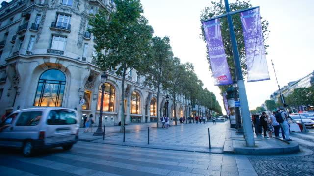 time lapse, Shopping on Avenue des Champs Elysees, Paris France