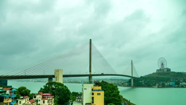 Time lapse shot of Beautiful Bai Chay Bridge at Haa Long city, Vietnam video