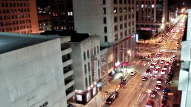 Time lapse shot of downtown Indianapolis at night video