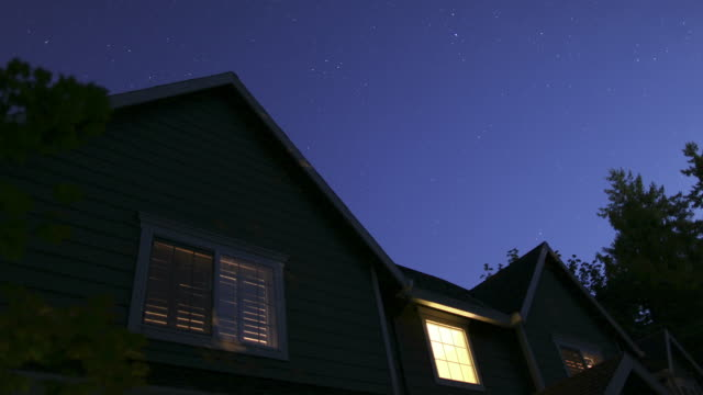 Time lapse shot of stars moving over home