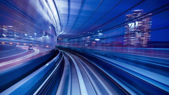 vídeos y material grabado en eventos de stock de lapso de tiempo 4k: hacer turismo en tren automático por la noche, tokio, japón-vídeo en stock - emprendedor