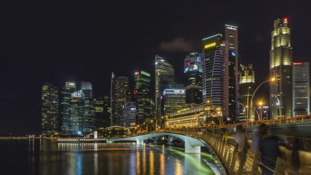Time lapse Singapore skyline at night with urban modern buildings video