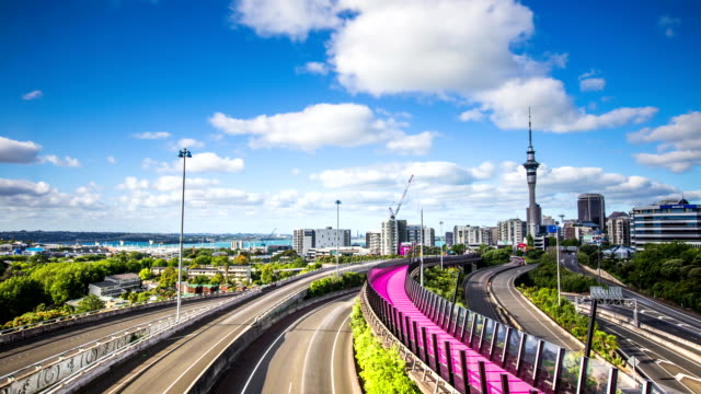 Time Lapse - Skyline of Auckland City with the Sky Tower, New Zealand video