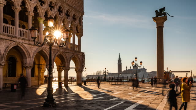 Time Lapse: St. Mark's square in Venice at sunrise