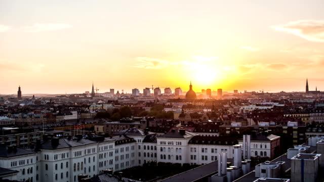 hd time lapse: stockholm cityscape sunset - stockholm bildbanksvideor och videomaterial från bakom kulisserna