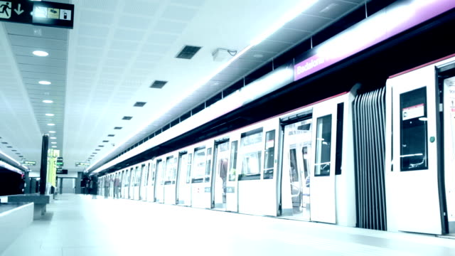 Time lapse subway and passengers video