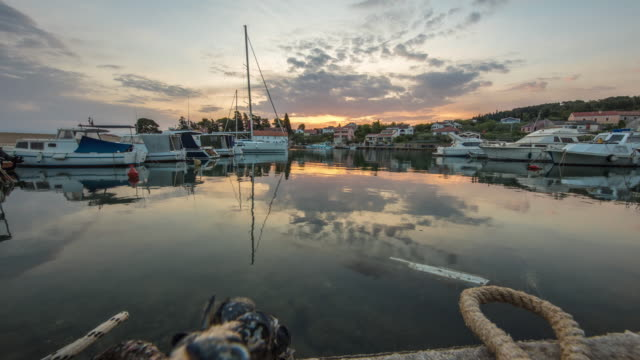 MS Time lapse sunrise over boats moored in tranquil marina,Croatia