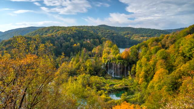 Time Lapse Sunrise Scene of iconic Waterfall in Plitvice Lakes, Croatia