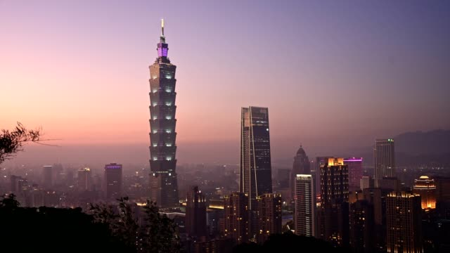 Time lapse. Sunset Aerial view Taipei, Taiwan evening skyline from XiangShan Mountain view point.