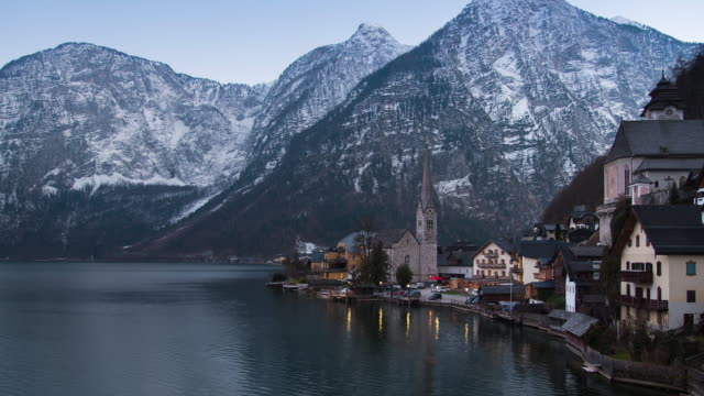 4K UHD - Time Lapse - sunset and light up at Hallstatt village , Austria video