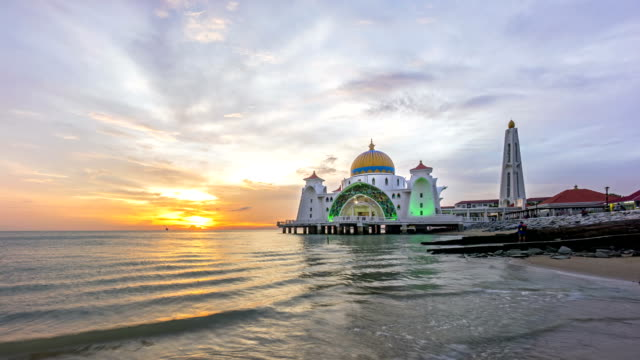 Time lapse. Sunset at Floating Mosque, Straits of Malacca video