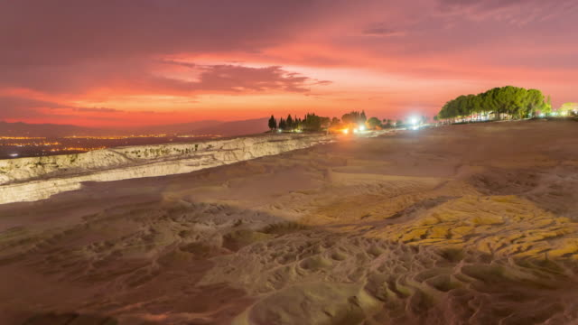 Time lapse : Sunset Natural view on pools and terraces in Pamukkale