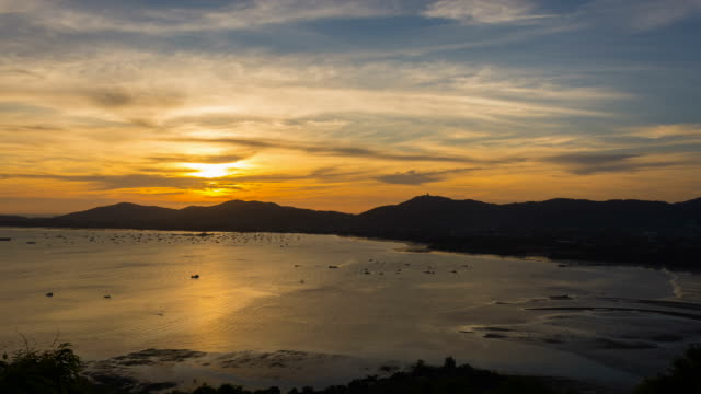 Time lapse, Sunset over the mountains and the sea video