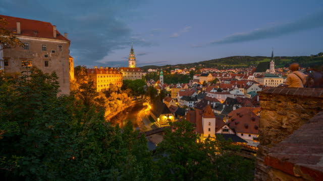 Time Lapse Sunset Scene at Cesky Krumlov Old Town in Czech Republic, Cesky Krumlov Castle, has been a designated UNESCO World Heritage Site