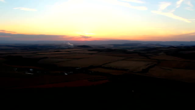 Time lapse sunset sky from hill Rana with city Litvinov. Czech landscape