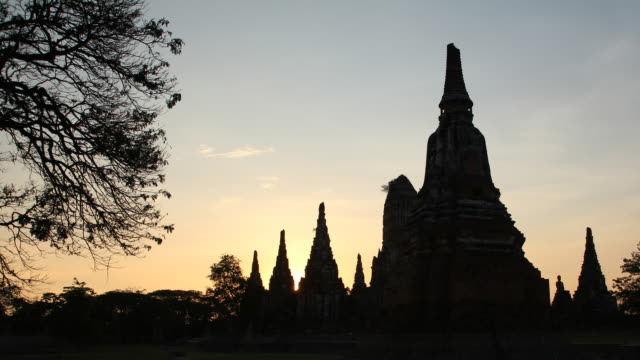 Time lapse sunset the old temple of Ayudhaya thailand  sunset to night time lapse stock videos & royalty-free footage