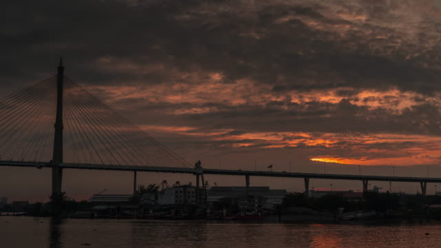 time lapse, the morning atmosphere at sunrise over the bridge