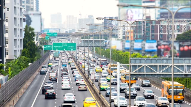 Video Time Lapse, The traffic During the daytime road Bangkok Thailand.