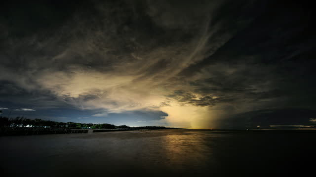 Time lapse: Thunderstorm strong cloud with flash lightning on coast of Thailand video