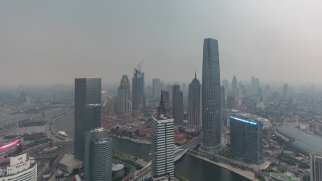 Time Lapse- Tianjin Urban Skyline in air pollution, Tianjin Smog (Panning) video
