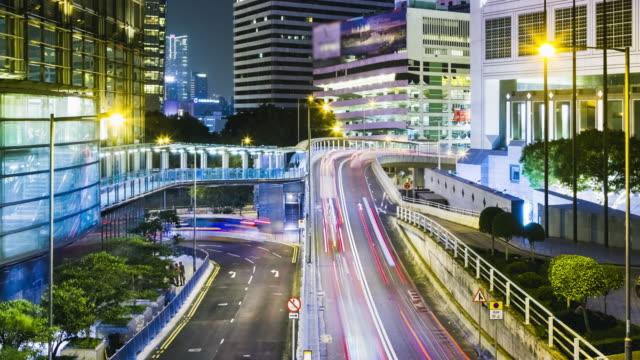 Zeitraffer 4K (4096 x 2160): Zeit Erlöschen des Highway Traffic Downtown in Hong Kong. – Video