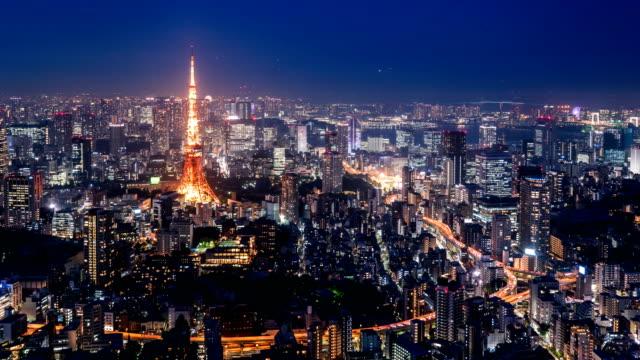 東京タワーの時間経過と夕暮れ時の街並み。 - 東京点の映像素材/bロール