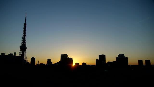 東京タワー日の出タイムラプス - 夜明け点の映像素材/bロール