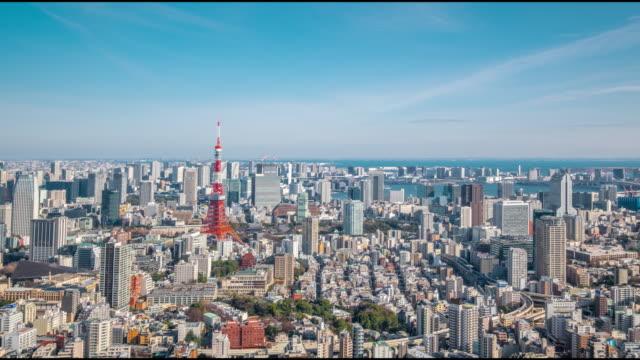 4k タイムラプス-都市景観の東京タワー空中眺め-東京ジャパン - 東京タワー点の映像素材/bロール