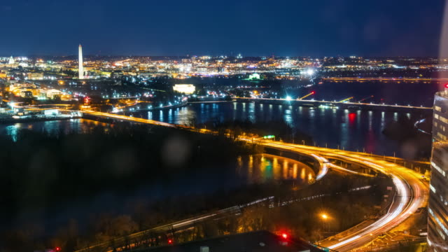 Time lapse Top view of Cityscape at nighttime in Washington, D.C., USA