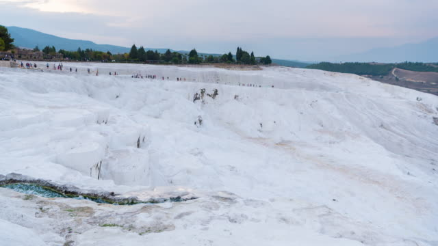 Time lapse : Tourist walking  over rock landscape pamukkale National Park at Turkey