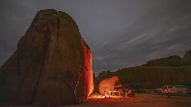 MS Time lapse tourists camping at rocks in desert at night, Namibia, Africa Time lapse tourists camping at rocks in desert at night, Namibia, Africa. Time Lapse. Shot in 8K resolution. namibia stock videos & royalty-free footage