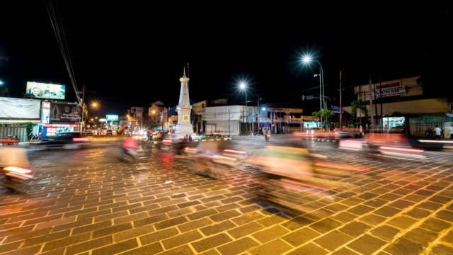 4K Time Lapse : Traffic at Tugu Yogyakarta. video
